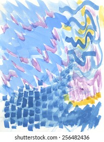 Hand-painted, abstract watercolor background with sky blue, light purple and yellow brushstrokes.