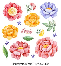 Handpainted romantic set with watercolor peonies, flowers, roses and leaves.15 lovely clipart isolated.Perfect your project,greeting cards,wedding,Birthday cards,bouquets,wreaths,invitations,logos