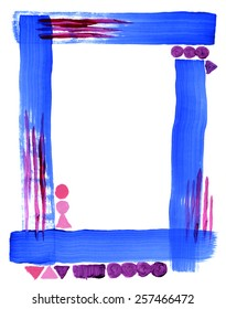 Hand-painted with ultramarine blue, magenta, purple and pink acrylic paint, the brushstrokes are clearly visible in this simple, bright frame decorated with geometric shapes.