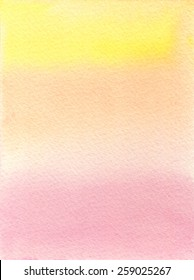 Hand-painted watercolor background in soft, gradated tones of pink and yellow, on rough-textured watercolor paper. Hand drawn using transparent watercolor paint.