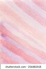 Hand-painted watercolor background texture of diagonal stripes in pink and purple.