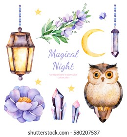 Handpainted watercolor flowers,leaves,moon and stars,night lamp,crystals and cute owl.12 magic clipart of peony,crystals,bird,branch..Can be used for your project,greeting cards,wedding,Birthday cards