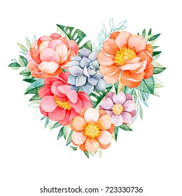 Handpainted watercolor heart with peonies, flowers,succulents,tropical leaves,branch and leaves.Watercolor lovely illustration.Perfect for your project,greeting cards,wedding,Valentines Day card,logos