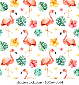 Handpainted watercolor seamless pattern with multicolored flower,tropical leaves,flamingo bird on white background.Tropical background.Perfect for your project,wedding,packaging,wallpaper,cover design