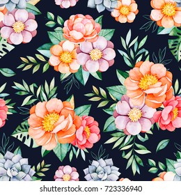 Handpainted watercolor seamless pattern with peonies,flower,succulents,tropical leaves,branch on dark background.Lovely texure.Perfect for your project,wedding,packaging,wallpaper,pattern,cover design