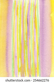 Hand-painted watercolor stripes in tones of purple, yellow and green.