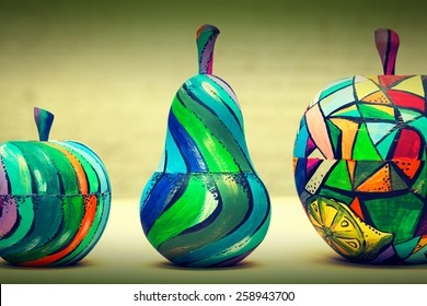 Hand-painted wooden fruit - pears and apples. Handmade, contemporary art
