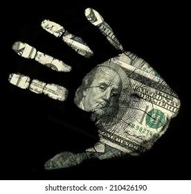 Handprint 100 dollar bill