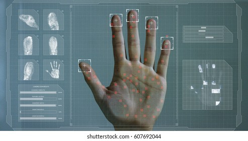 Handprint leaning on control glass for biometric scan. concept of surveillance and security through human fingerprints in the future of digital technology.