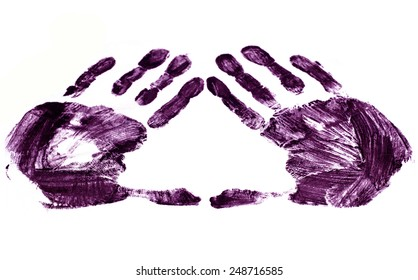 A handprint on white paper (isolated)