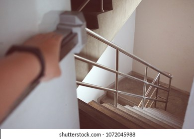 Hand-push door to escape down the fire escape in case of fire building