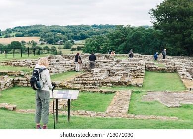 HANDRIAN'S WALL, ENGLAND - AUGUST 1: ancient roman ruins in Chesters Roman Fort on the path of Hadrian's Wall in England on 1 August, 2017