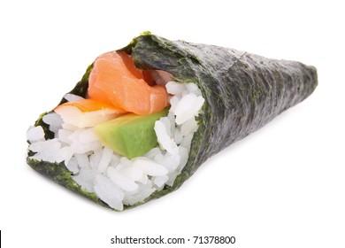 hand-roll sushi, temaki sushi on white background