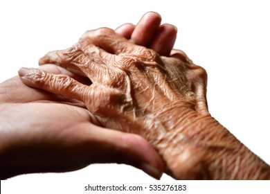 Hands of an aged woman holding the hand of a young man in isolated white background