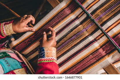 Hands of a Andean Woman working in Peru