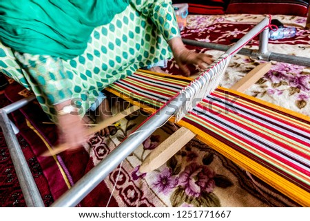 Hands Arab Woman Weaving Textiles Traditional Stock Photo Edit Now