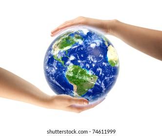 hands around globe isolated
