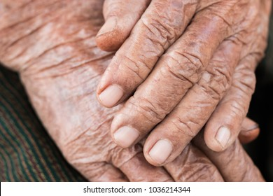 Hands Asian elderly woman grasps her hand on lap, pair of elderly wrinkled hands and Traces of hard work, World Kindness older, Adult care concept. Senior citizen is common euphemism for an old person