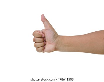 Hands of Asian men showing thumb up hand sign