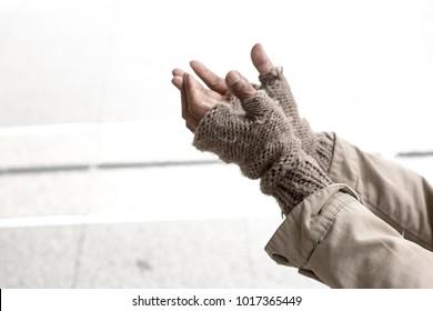 hands of beggar  begging for money