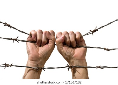 hands behind barbed wire on the white