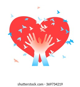 Hands with birds on a background of  hearts. Abstract  background