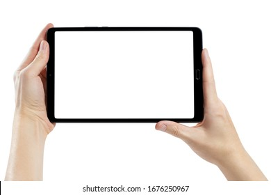 Hands with a black tablet, isolated on white background