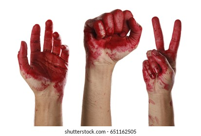Hands blood, symbolizing the victory of the revolution