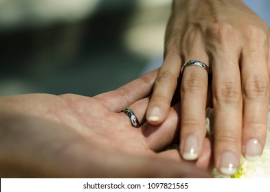 Hands of bride and groom holding together with wedding rings. young wedding couple. matrimony. man and woman in love. two happy people celebrating becoming family. Photo with selective focus.