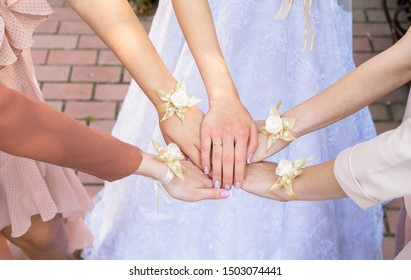 Hands of the bride and her bridesmaids