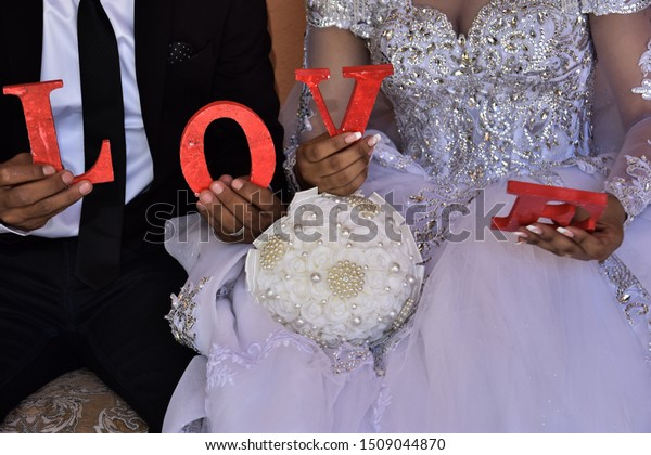 Hands Bride White Dress Gold Wedding Stock Photo Edit Now 1509044870