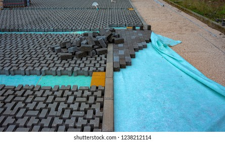 Hands of a builder laying new paving stones carefully placing one in position on a leveled and raked soil base