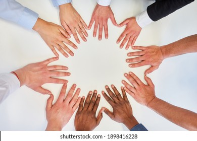 Hands of business people in circle for team building and network in meeting