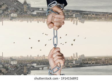 The hands of businessmen Chained on opposite mirrored sides of the city.