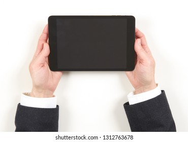 Hands businesswoman and black tablet on white background