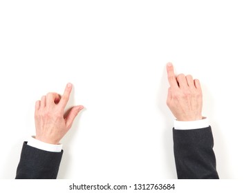 Hands businesswoman and gestures on white background