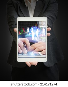 hands of a businesswoman holding with financial concept background on tablet device