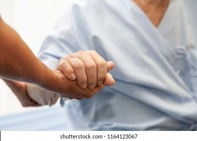 Hands of an Caring doctor or nurse or family holding elderly man or senior patients hands with care while sit in bed or wheelchair,showing sympathy and kindness. healthcare ,medical and elder concept