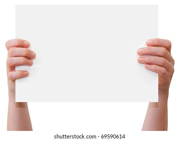 Hands of a caucasian female upholding blank sheet of paper with copy-space for your text, isolated on white
