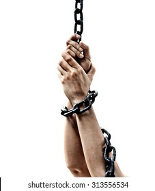 Hands chained isolated compose with concrete background