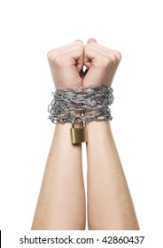 Hands chained together isolated on a white background