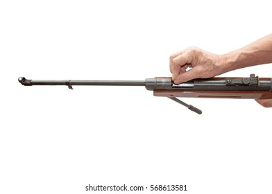 Hands charged air rifle isolated on white