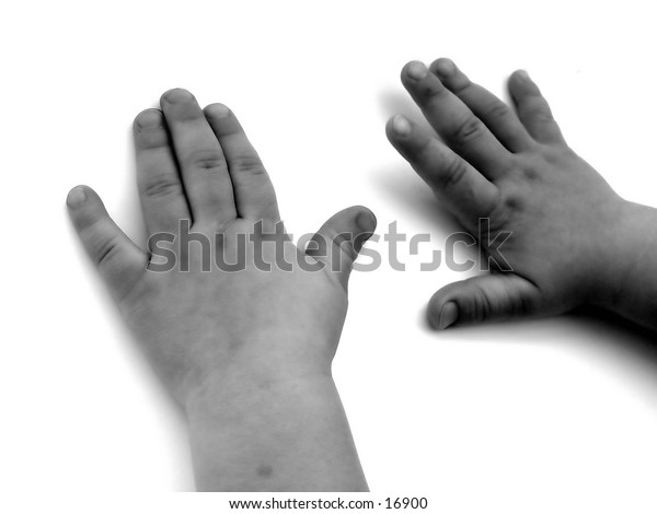 Hands of a child, black and white, isolated on white background