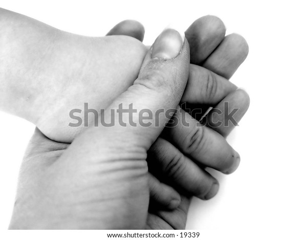Hands of a child, black and white isolated on white background