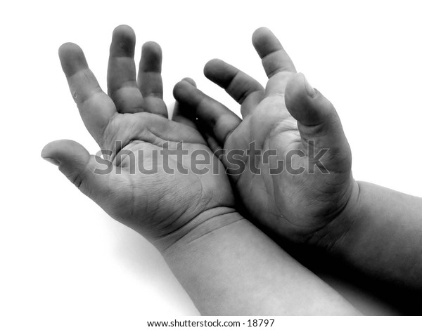 Hands of a child, isolated on white background