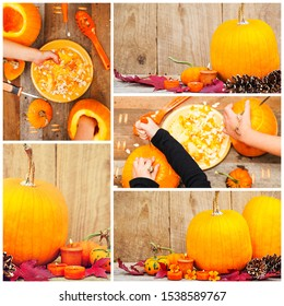 Hands of children carving pumpkins. Halloween collage. Holiday composition of pumpkins, fir cones, maple leaves and candles against wooden planks