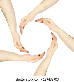 Hands in a circle / five hands