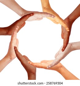Hands circle, international teamwork concept