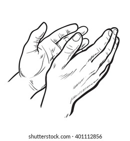 Hands clap. hand drawn. Circuit hands. Symbol of applause. Bravo. Applause in sketch style. Hands clap. Narisovanna hands clapping in support. Success. Hands on a white background.
