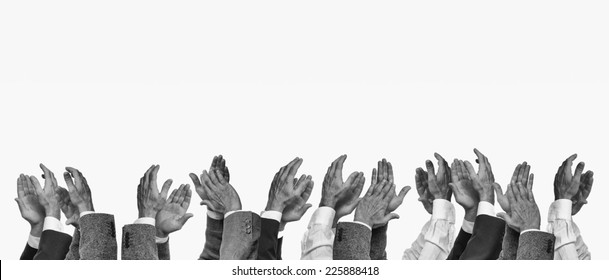 Hands clapping, black and white